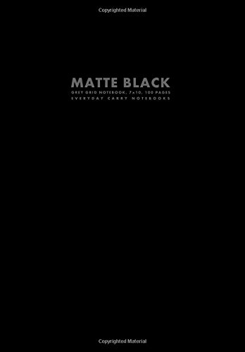 Matte Black Grey Grid Notebook, 7x10, 100 Pages (Workbook Sized Notebooks)
