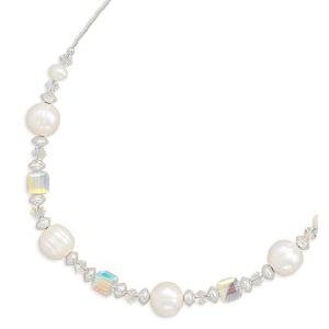 Up to 9mm White Pearl Necklace with Swarovski AB Crystals Bridal Sterling Silver - Made in the USA