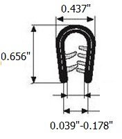 "Edge Trim Blacklarge U height 0.656"" U Height x 0.039""-0.178"" grip range"