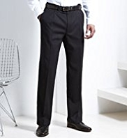 Big & Tall Supercrease® Active Waistband Single Pleat Trousers with Wool