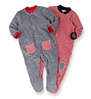 2 Pack Cotton Rich Striped Towelling Sleepsuits