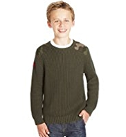 Pure Cotton Panelled Military Jumper
