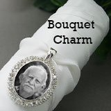 Bridal Wedding Bouquet Photo Charm Silver Oval Rhinestone Photo Charm