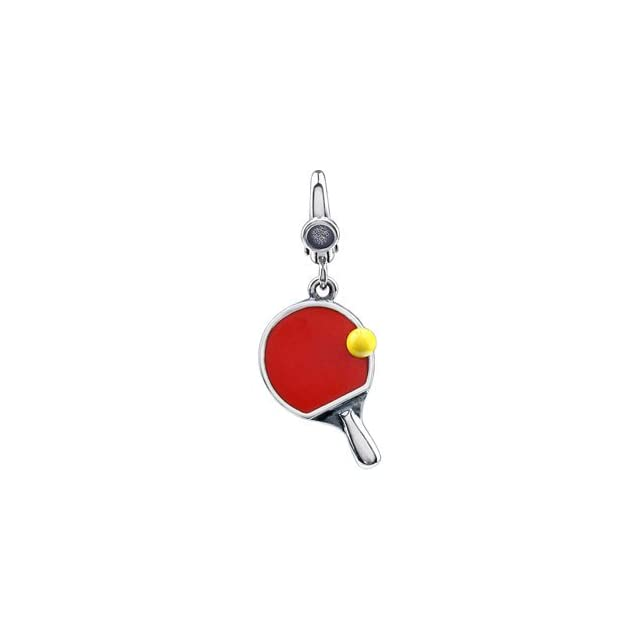 Sterling Silver 19.00X12.00 MM Ping Pong Paddle And Ball Charm