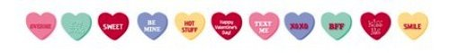 Creative Converting Ribbon Garland Party Decoration with Candy Conversation Hearts, 5.5' Long - 1
