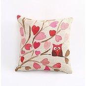 AMountletstore Tree Branch Owl Love Heart Leaf Unique Fashion printing Plush cloth 18 X 18 inch Pillowcase for bedroom sofa