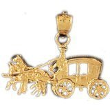 CleverEve 14K Yellow Gold Pendant Horse And Wagon 2.2 Grams