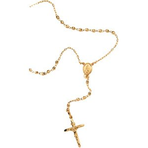 14Kt Solid Yellow Gold Rosary Necklace 25 Inch Neck Loop