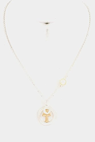 Glitz Finery Round Cross With Horse Shoe Pendant Necklace (Matted Silver)
