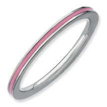 Just Happy Silver Stackable Pink Enamel Ring Band. Sizes 5-10 Available