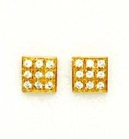 14ct Yellow Gold 2 mm Round CZ Square Design Earrings