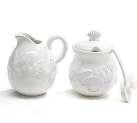 Buy Sanibel Sands Creamer And Sugar Bowl Set With Spoon Beach Home Decor