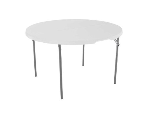 Lifetime 280064 48-Inch Round Commercial Fold-In-Half Table, White Granite Tabletop With Gray Frame
