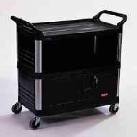 "Rubbermaid Commercial Rcp4095Bla Xtra Equipment Cart 300 Lb Cap 3-Shelf 20-3/4""W X 40-5/8""D X 37-4/5""H, Black front-612922"