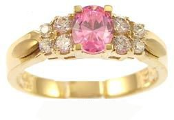 14k Yellow Gold, Simple Classic Design Ring with Lab Created Oval Shape Navy Pink Colored Stone