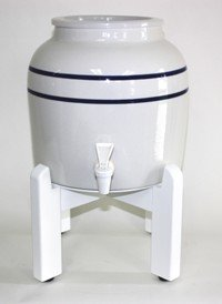 Porcelain Water Dispenser with Blue Stripes and White Wood Counter Stand