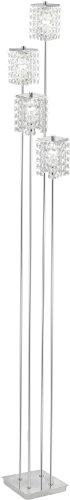 Eglo Stehleuchte Modell PYTON / 4 flammig / in Stahl chromfarben / Kristall / HV 4 x G9 40 W / inkl. Leuchtmittel / Ein Aus Trittschalter im Kabel / Höhe 155.0 cm / Sockel 14.0 x 14.0 cm