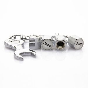 4 Pcs White Jeep Logo Car Tire Valve Stem Caps Cover Free Keychain from Querque Auto Parts