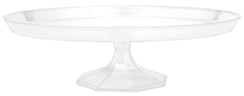 "Large Plastic Party Dessert Stand Perfect Tableware and Cutleries, 13-1/2"", Clear"