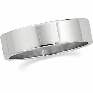 14K White Gold Flat Band - 6mm