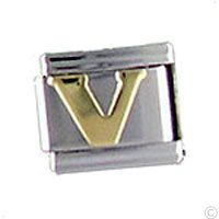 italian Charms for bracelet - Letter V gold, custom Jewelry, Nomination compatible 9mm