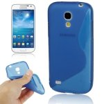 JUJEO S Line Anti-Skid Translucent TPU Case for Samsung Galaxy S IV Mini/I9190 - Non-Retail Packaging - Blue s what glow in the dark protective tpu back case for samsung galaxy s4 i9500 translucent blue