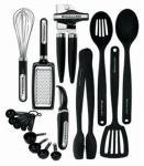 KitchenAid Cooks Series 17-Piece Starter Tool and Gadget Set, Black