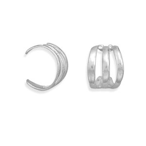 Sterling Silver 3 Row Polished Earrings Cuff Adjustable Ear Cuffs Measure 8.5mm Wide - JewelryWeb