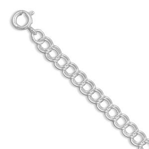Double Link Chain Bracelet 5mm Wide 6 to 8 inch Lengths Sterling Silver - Made in the USA , 8IN