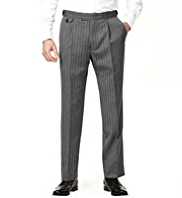 Sartorial Single Pleat Striped Morning Trousers with Wool