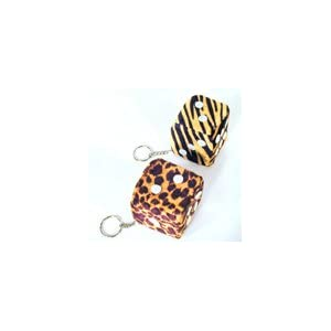 Fuzzy Dice Assorted Animal Print Keychain (1 DOZEN) 12 Pieces