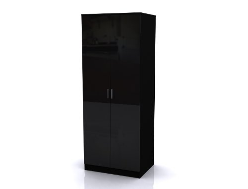 High Gloss Ottawa Caspian Black / Black Wardrobe Only