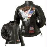 Diamond PlateTM Ladies Rock Design Genuine Buffalo Leather Motorcycle Jacket Size-Medium by NYC Leather Factory Outlet