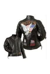 Diamond Plate Ladies Genuine Buffalo Leather Motorcycle Jacket-L (Pack Of 1)