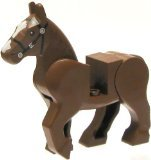 Lego Animal Minifigure: Reddish Brown Rearing Horse (with Movable Limbs) - 1