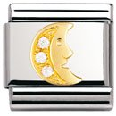Composable Classic FUN in stainless steel , 18k gold and Cubic zirconia (CLEAR Moon)