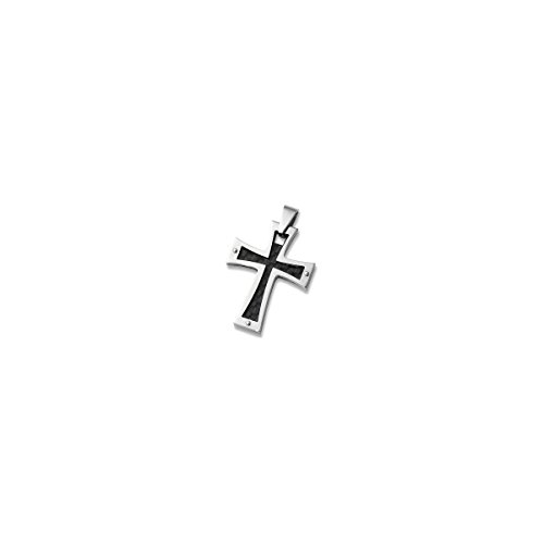 Stainless Steel Iron Cross Pendant With Black Carbon Fiber