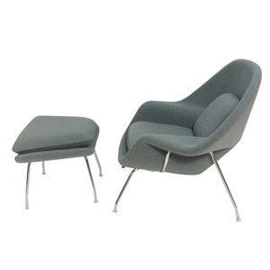 2 Pc Modern Lounge Chair & Ottoman Set (Dark Gray)