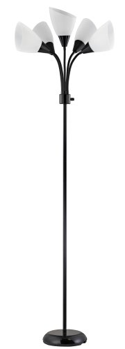 design-trends-19002-07-contemporary-adjustable-floor-lamp-with-five-white-shades-black-1-pack