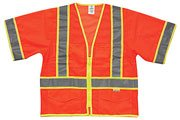 Surveyor Safety Vest w/ Zipper Front, Ultra-CoolTM Mesh - Class 3 - High Visibility - XLarge - Orange - ML Kishigo
