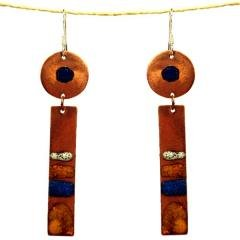 Chilean Handcrafted Two Piece Copper Earrings with Enamel