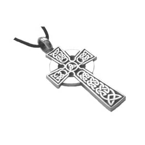 Celtic Irish Cross Pewter Pendant Necklace