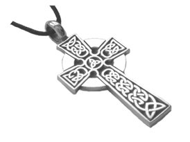 Celtic Irish Cross Pendant Necklace Silver Tone Pewter