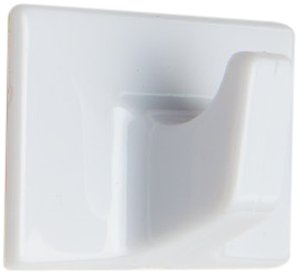 Bulk Hardware Large Rectangular Self Adhesive Hook - White (Pack of 6)
