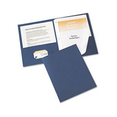 Paper Two-Pocket Report Cover, Tang Clip, Letter, 1/2 Capacity, Blue,