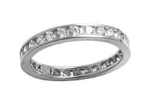 Size 7 Eternity Channel Set Cubic Zirconia Band 14k White Gold Ring