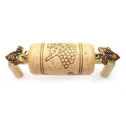 "3"" CTC Wine Cork Bin Pull - Brass - with Gold Leaves Accents"