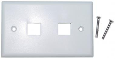 Cable Wholesale Wall Plate, 2 Hole For Keystone Jack, White