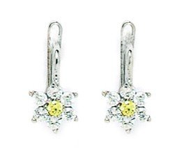 14ct White Gold November Birthstone Yellow1.5mm CZ Flower Leverback Earrings - Measures 13x6mm