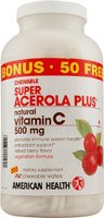 American Health Super Acerola Plus Natural Vitamin C Chewable Berry -- 500 mg - 300 Chewable Wafers